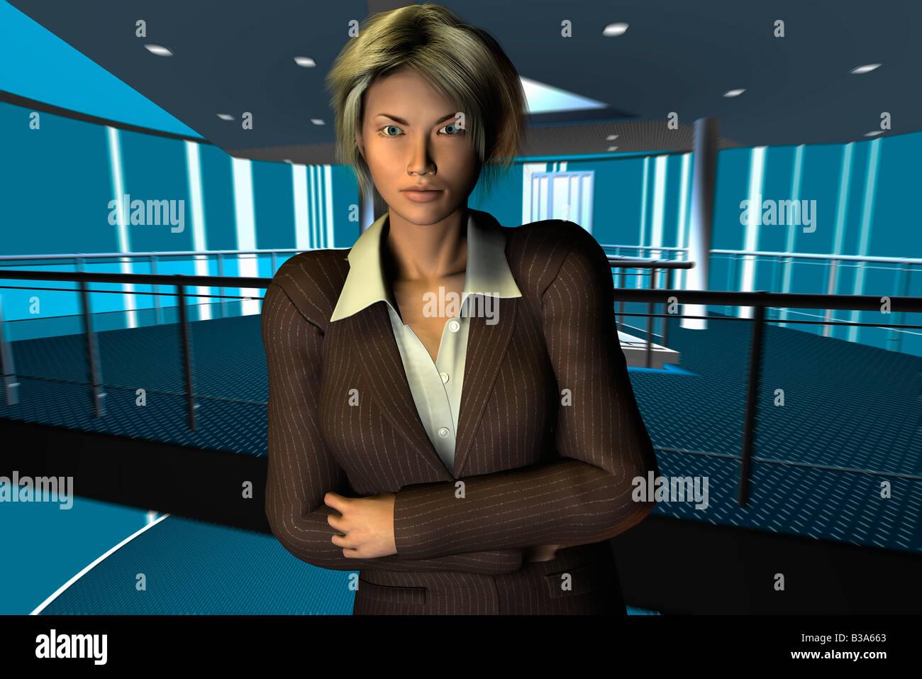 Computer-Beispiel für eine Geschäftsfrau mit Gelenkarme in Kamera Stockbild