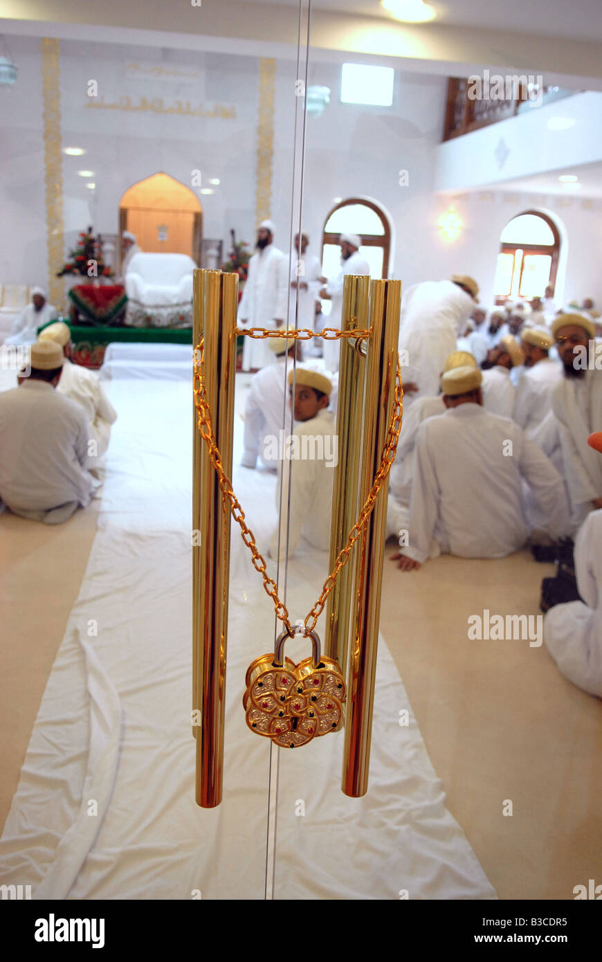 HH Syedna Mohammed Burhanuddin Führer der schiitischen Fatimad Tayyibi Zweig des Islam öffnet neue Moschee Stockbild
