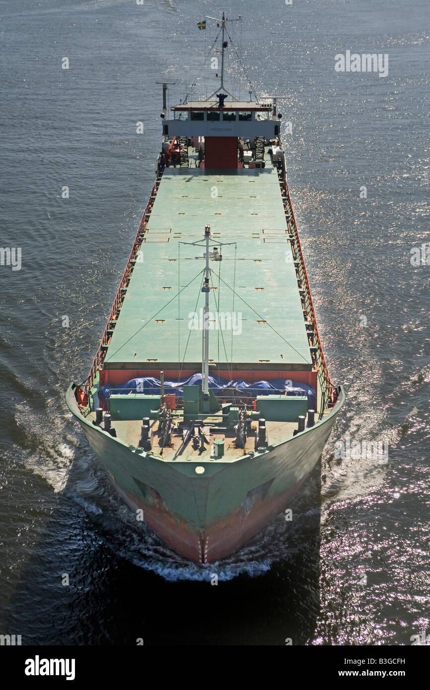 Luftaufnahme des eingehenden Ladung Schiff Göteborg Mündung Schweden 2008 Stockbild
