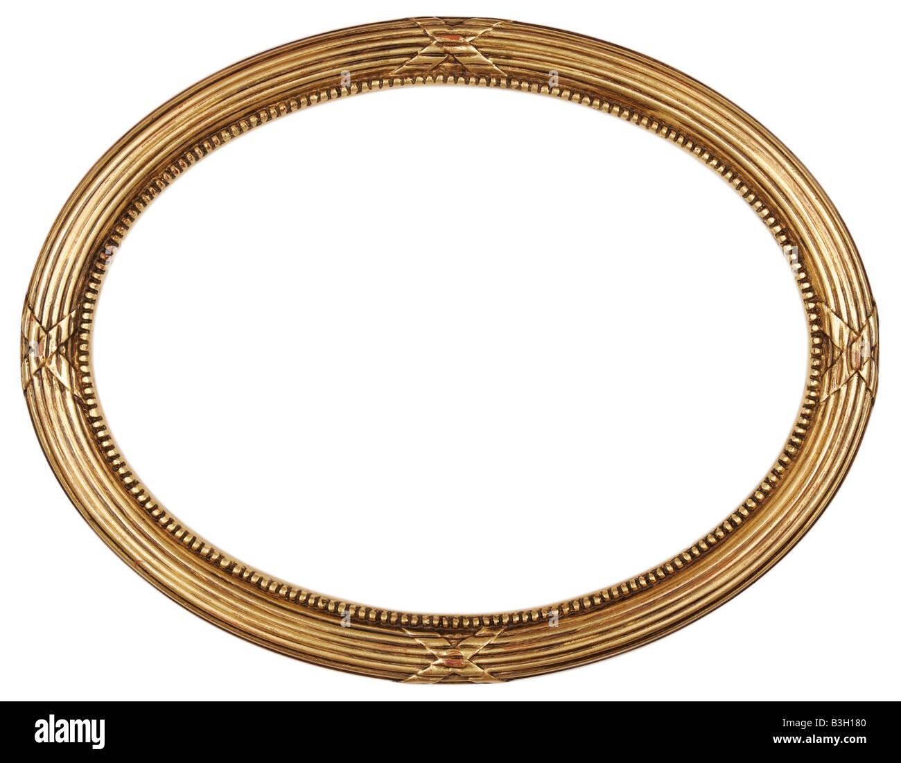 Reiches gold Oval Antik Bild Frame Ausschnitt Kunsthandwerk Stockbild