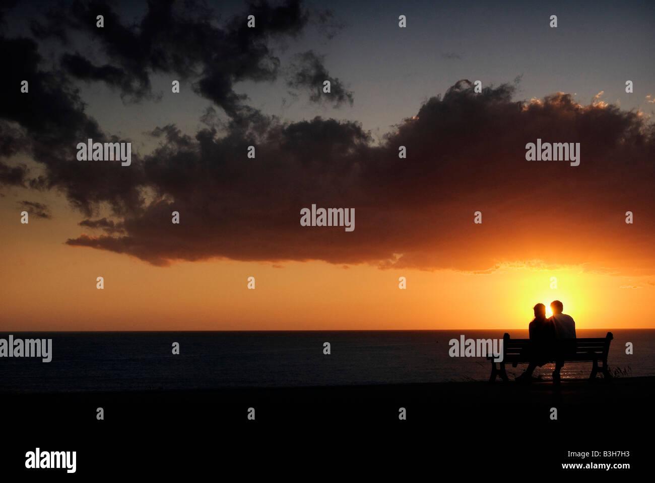 Sonnenuntergang-paar Stockbild