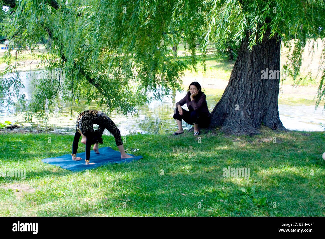 Die Rad Darstellen Oder Volle Brücke Yoga Position Urdhva