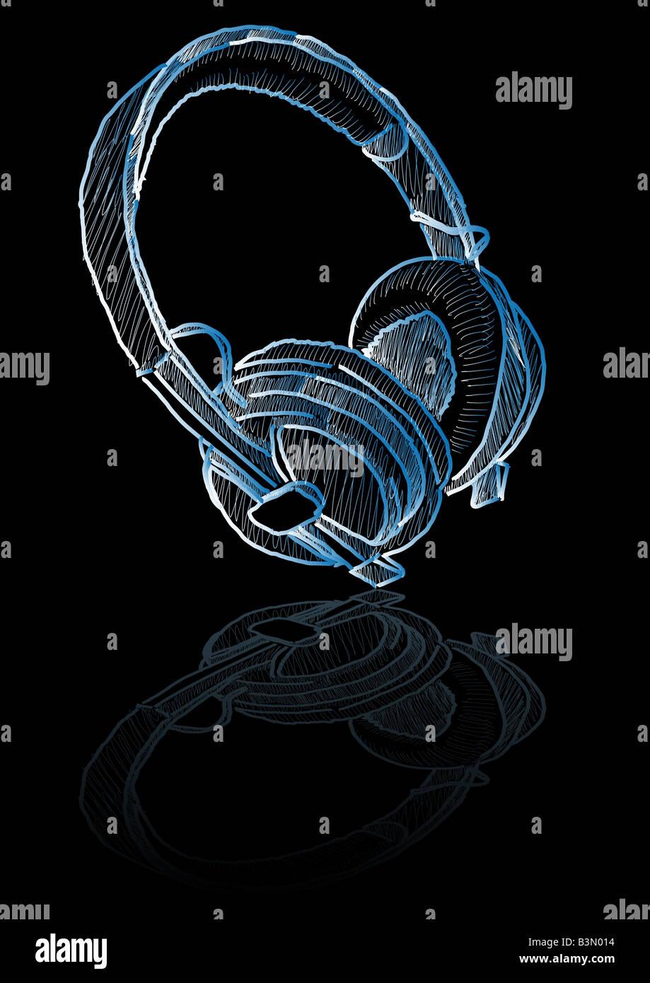 Abstraktes Vektor Bleistiftzeichnung von ein paar Kopfhörer Stockbild