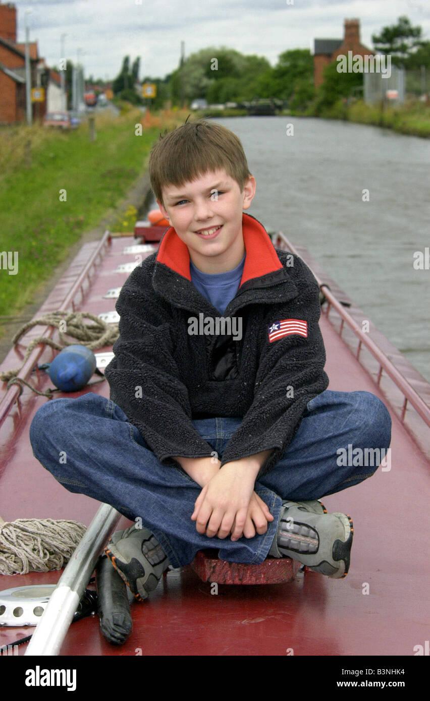 Junge Schauspieler Nicholas Hoult im Alter von 11, eine Rolle in dem Film About a Boy neben Hugh Grant August 2001 Stockfoto