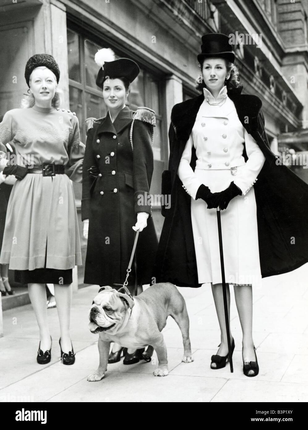Kleider Kleidung Mode Frauen 1940er Jahren Trägerin Doppelfell ...