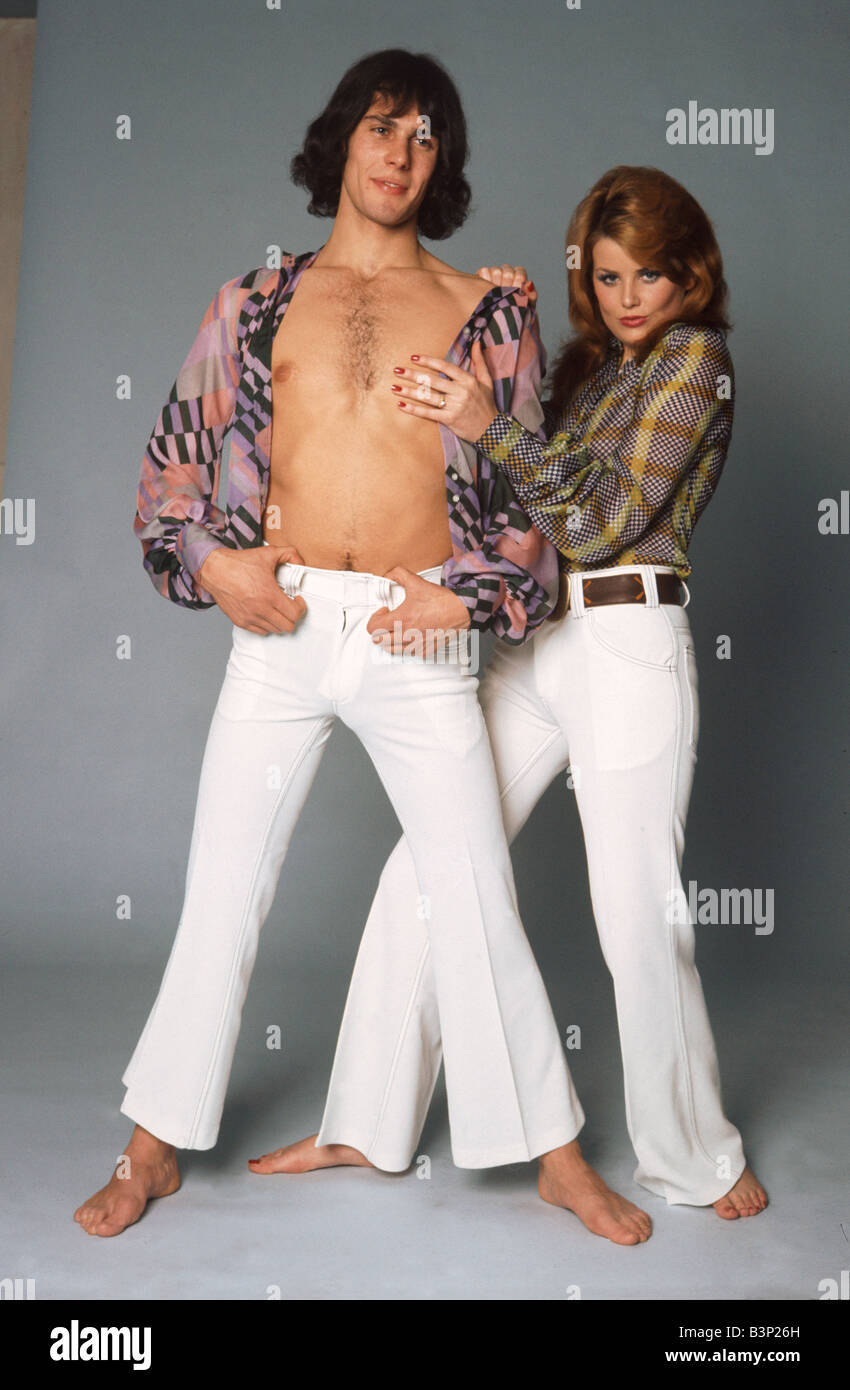 70er Jahre Kleidung Mode Weisse Jeans Hose Mit Gurtel Multi Farbige