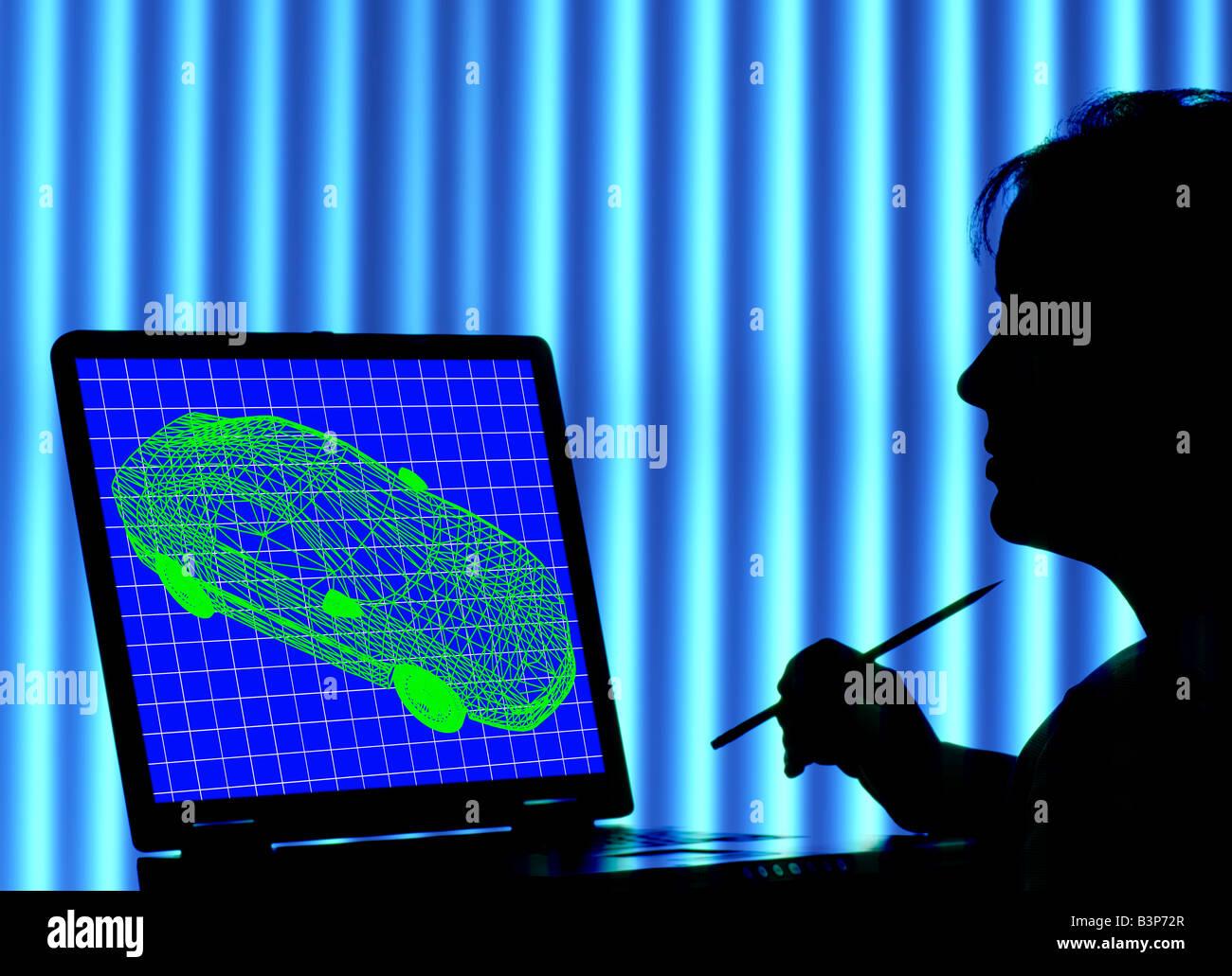 Techniker Studium computergenerierte Wire Frame Bild von Auto auf laptop Stockbild