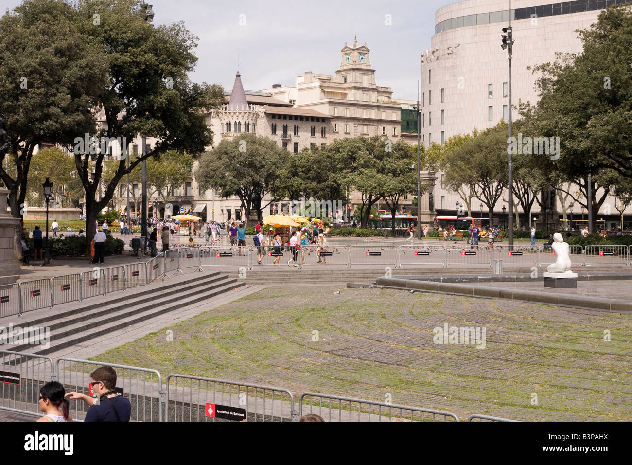 Ansicht der Placa de Catalunya in Barcelona Spanien Stockbild
