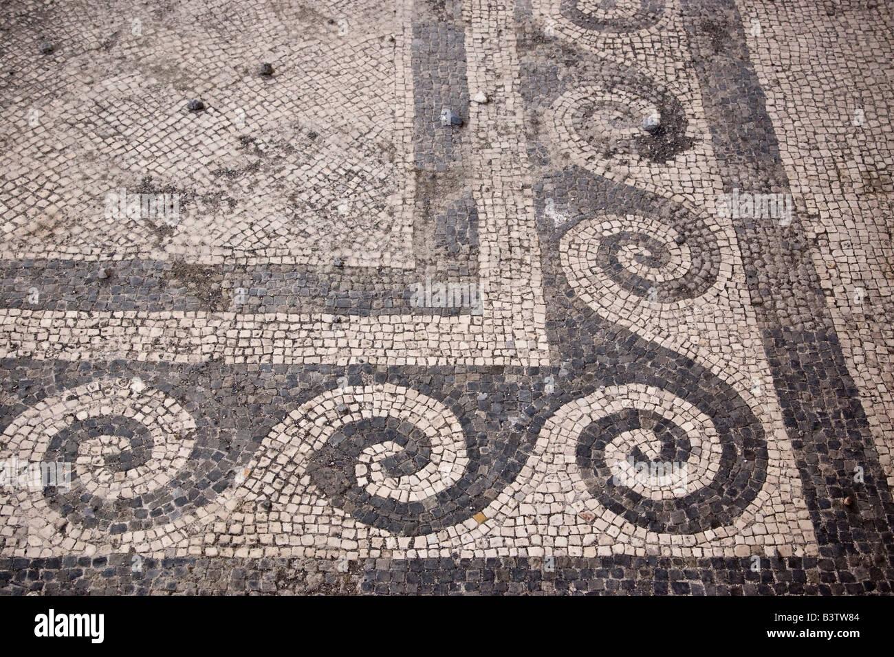 Europa Italien Kampanien Pompeji Mosaik Boden Muster In Das Haus