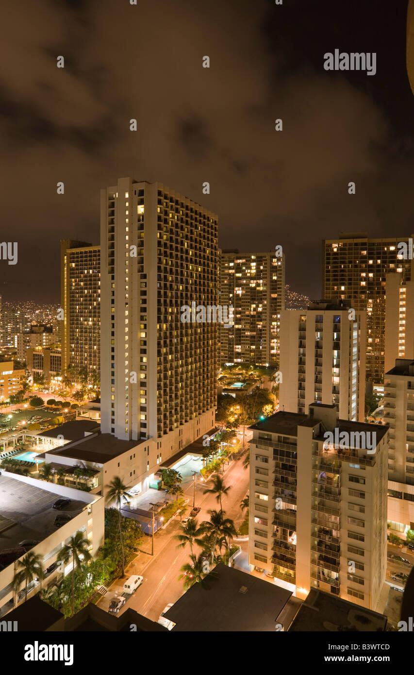 Honolulu Nacht Oahu Pazifik Hawaii USA Stockbild