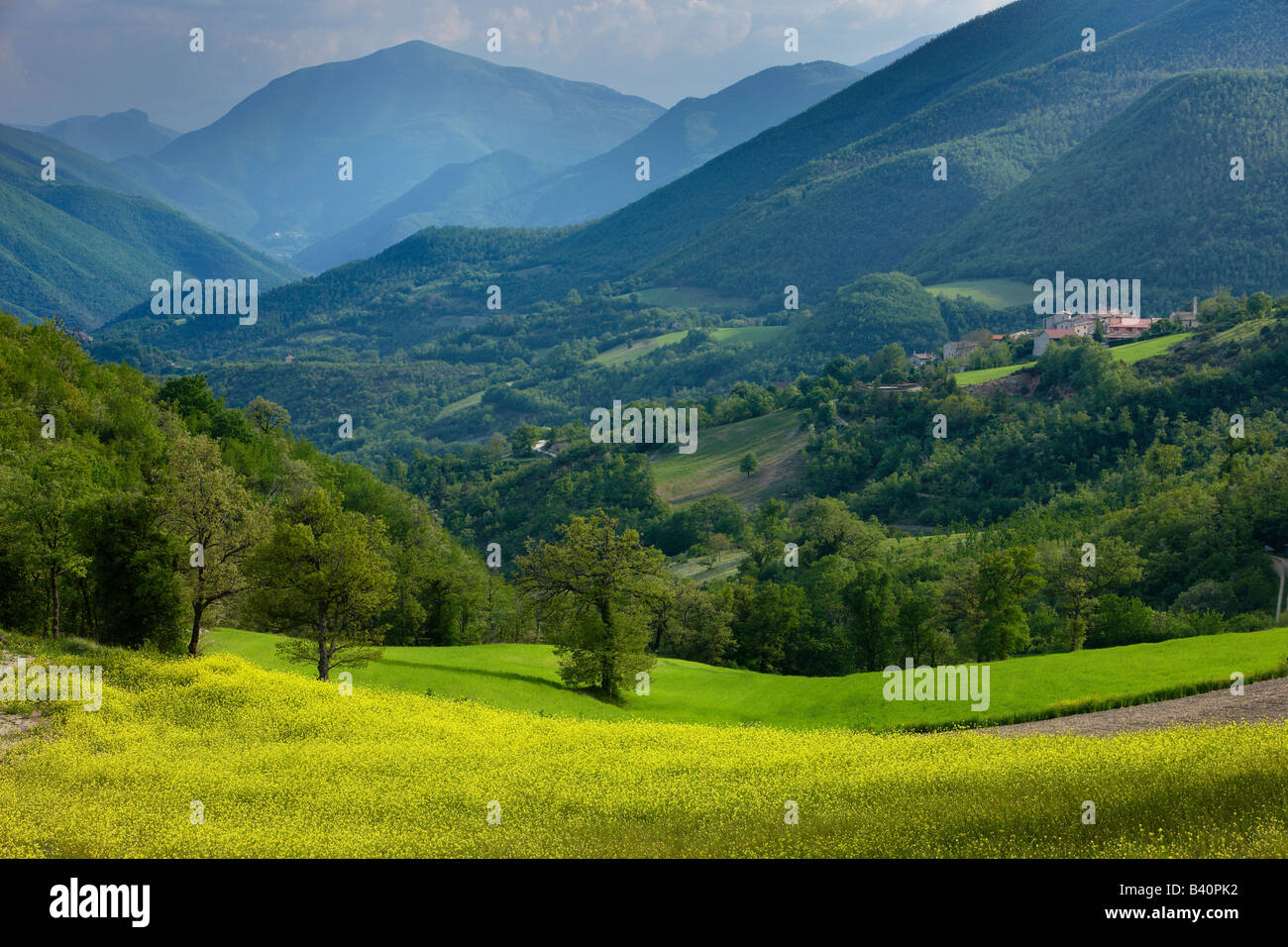 Frühling in der Valnerina in der Nähe von Meggiano, Umbrien, Italien Stockbild