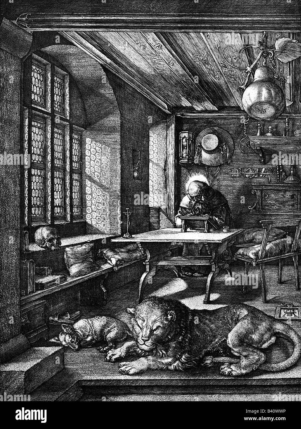 """Dürer, Albrecht (1471-1528), deutscher Maler und Kupferstecher, Werke, 'Der heilige Hieronymus im 0,72"""" Stockbild"""