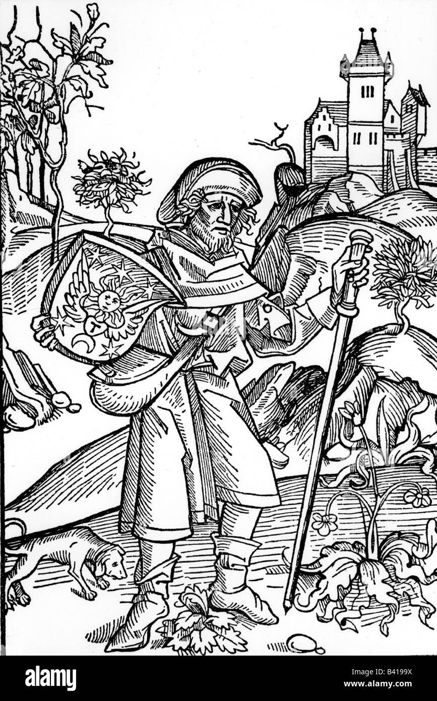 Religion, Pilgerreise, Pilger, Holzschnitt für Oper von Johannes von Gerson, 1489, Stockfoto