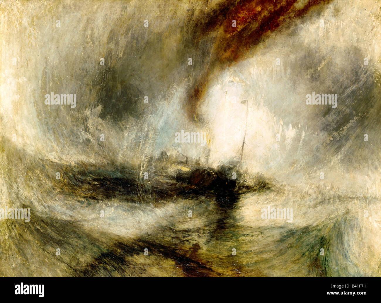 """Bildende Kunst, Turner, Joseph Mallord William (1775-1851), Malerei """"Schneesturm"""", 1842, Öl auf Leinwand, Tate Gallery, Stockfoto"""