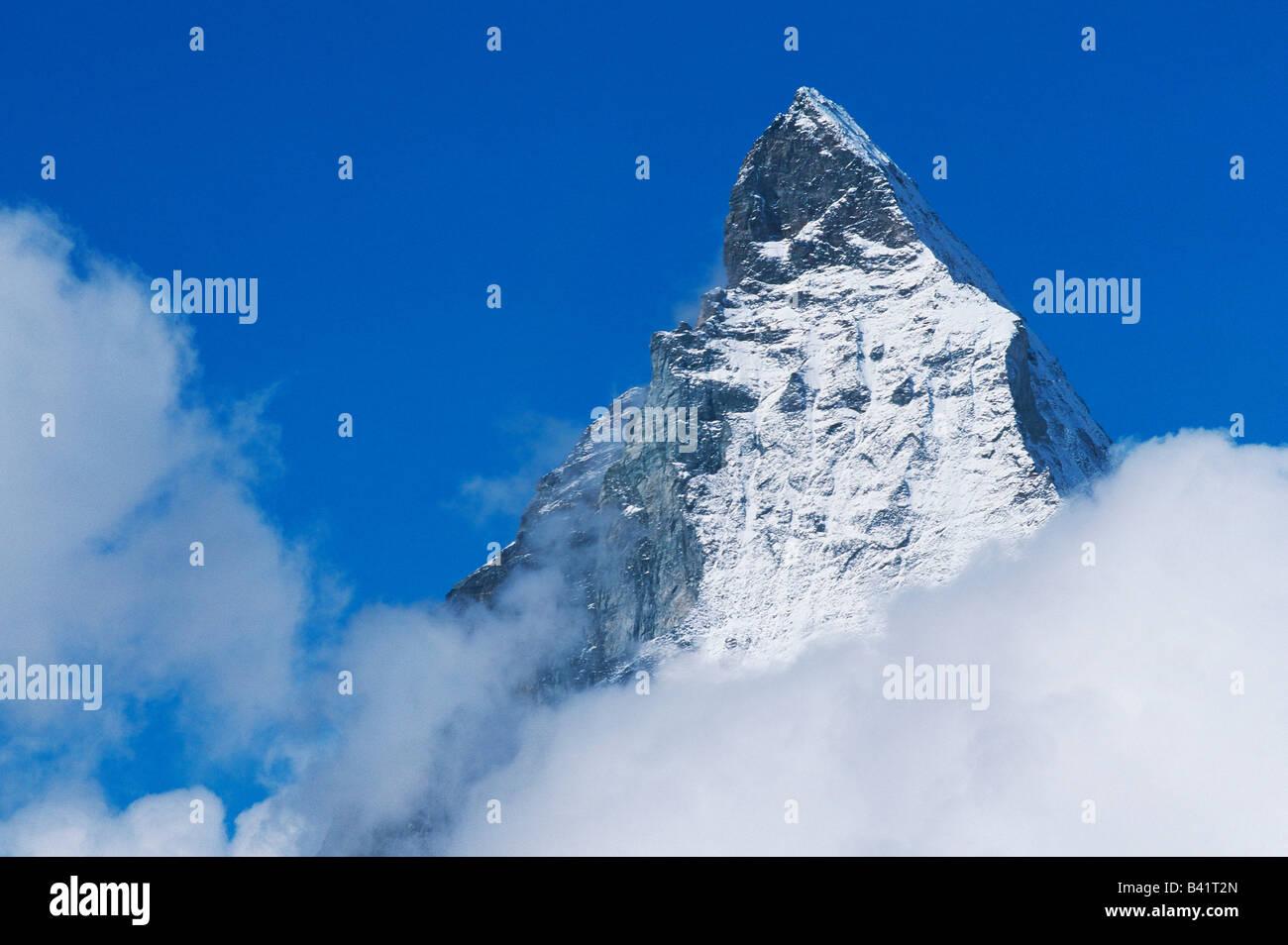Matterhorn Gipfel Zermatt Wallis Schweiz Stockbild
