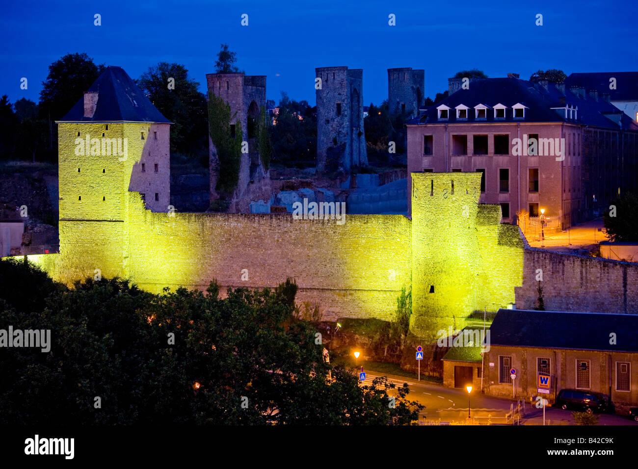 Luxemburg-Stadt am Twight, Luxemburg Stockbild