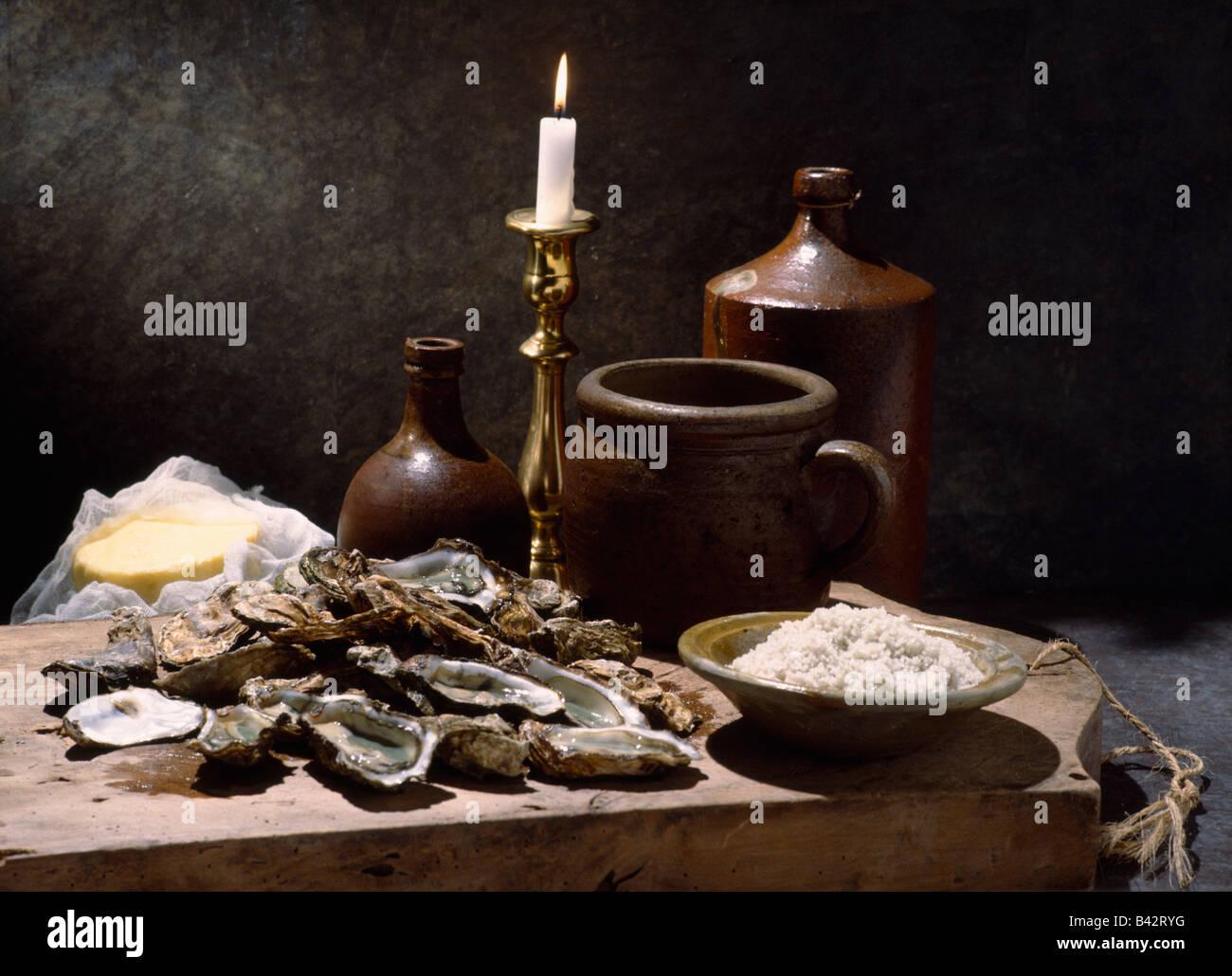 Stillleben mit Austern Stockbild
