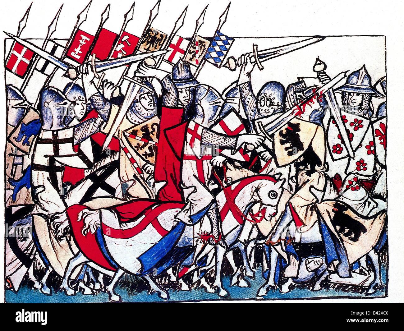 Heinrich VII., ca. 1275 - 24.8.1313, Heiliger römischer Kaiser 29.6.1312 - 24.8.1313, kämpfend gegen die Mailänder, Stockfoto