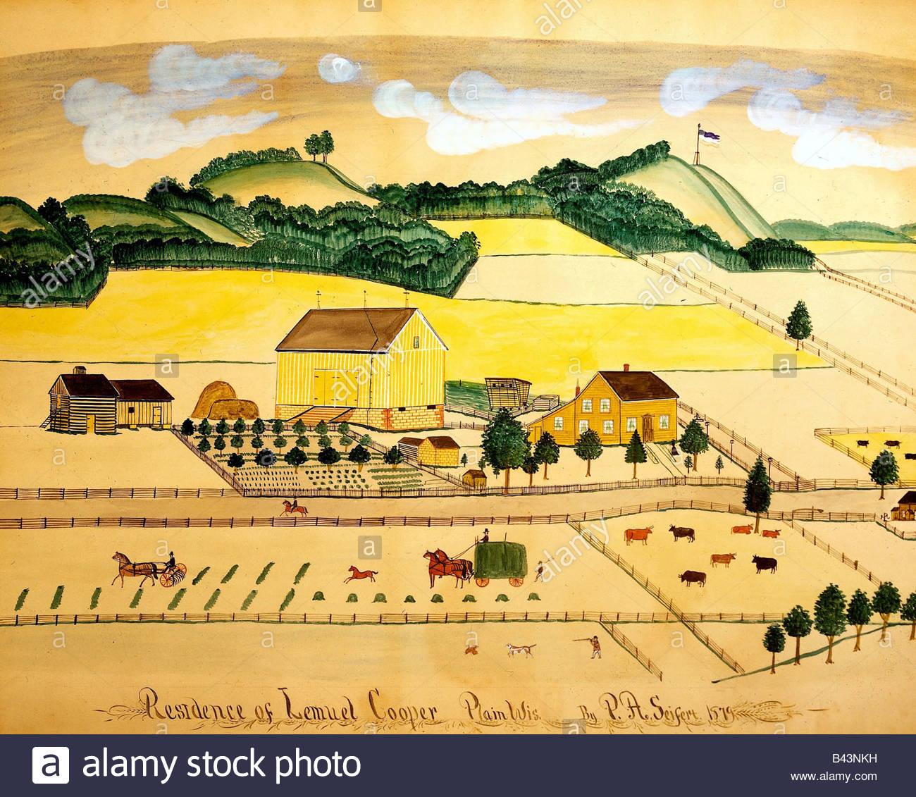 "Fine Arts - Seifert, Paul A. (1840-1921), Malerei, ""Residenz von Samuel Cooper, Plain, Wisconsin"", Aquarell, Stockbild"