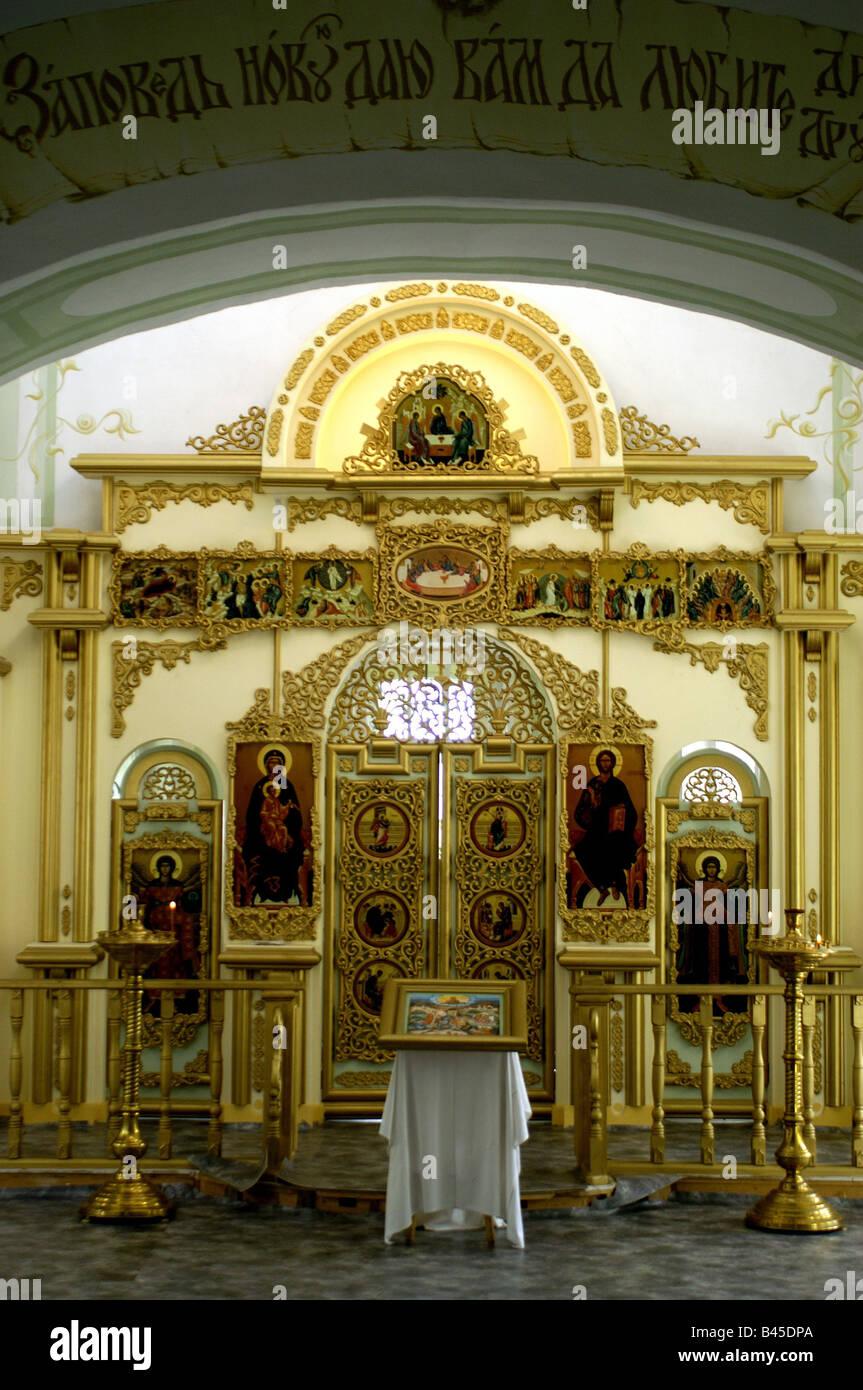 Geographie/Reisen, Russland, Irma, Kirchen, Kirche, Innenansicht, Altar, die heiligen Bilder, Symbole, Symbol, Gold, Stockbild