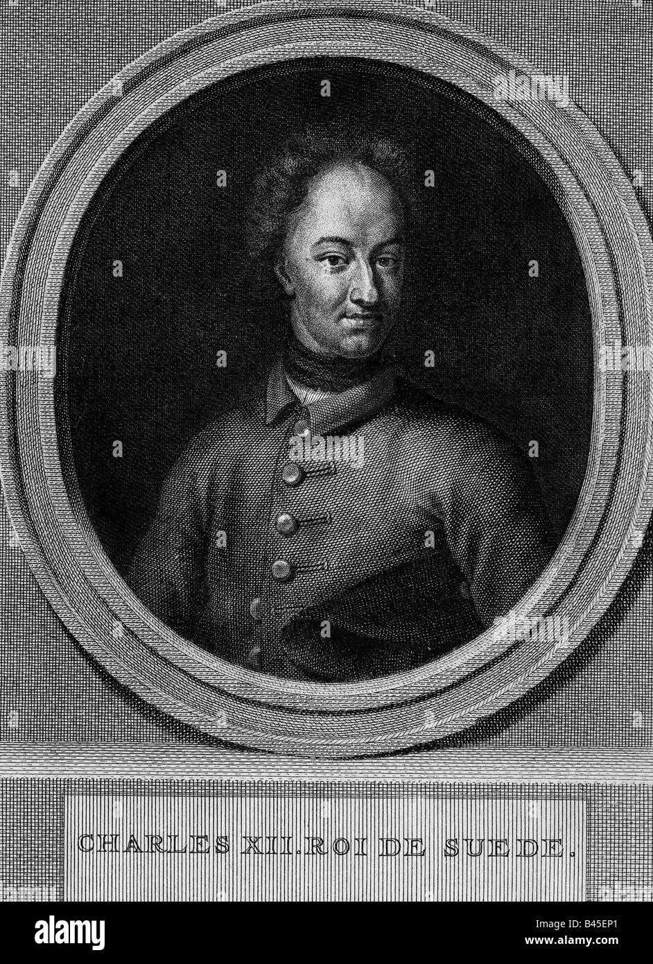 Karl XII., 27.6.1682 - 11.12. 1718, König von Schweden 15.4.1697 - 11.12.1718, Porträt, Gravur 1739 durch Stockbild