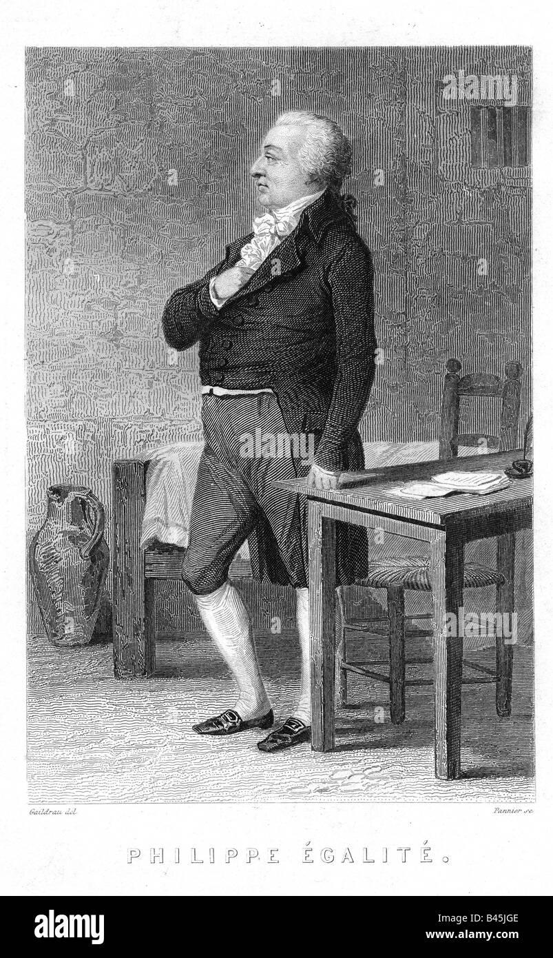 Louis Philip II, 13.4.1747 - 6.11.1793, Herzog von Orleans 18.11.1785 - 6.111793, volle Länge, im Gefängnis, Stockbild