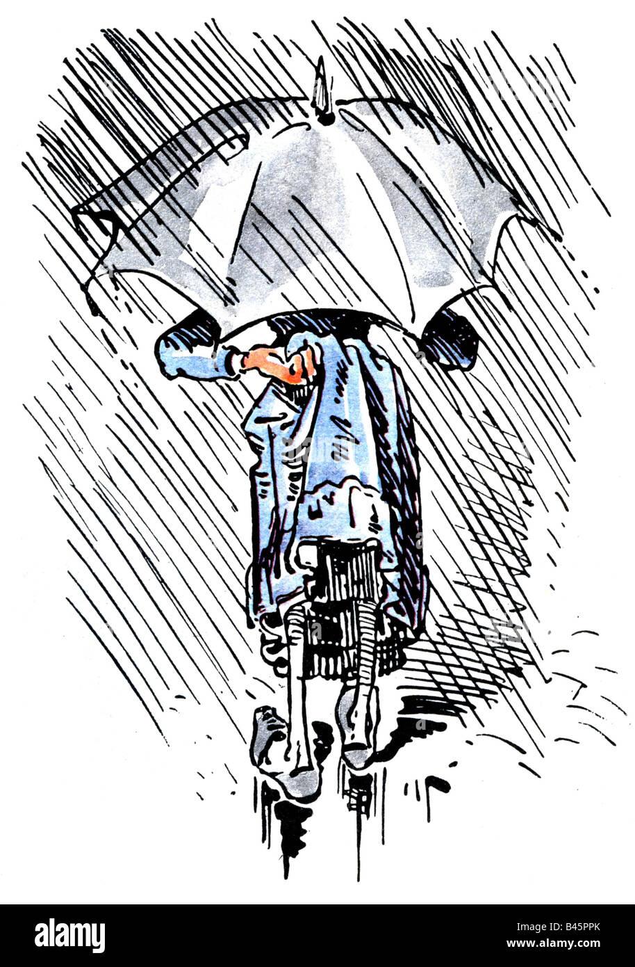 Literatur, Dideldum!, Wilhelm Busch, Truebe Aussicht, regnerischen Wetter, Comic, Deutschland, Frau, Regen, Regen, Stockbild
