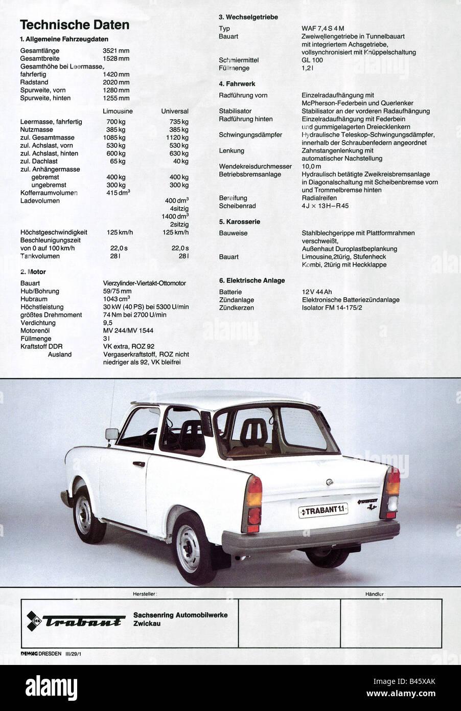 Verkehr / Transport, Autos, Deutschland, Trabant 1.1, technische ...