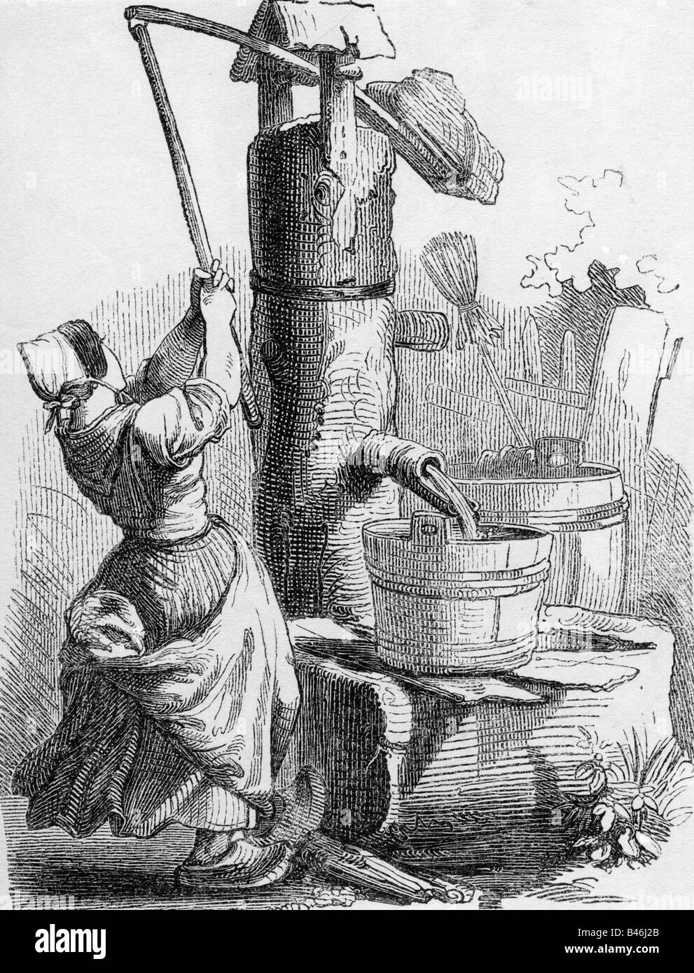 Architektur, Brunnen, Daw gut, Gravur, Deutschland, 19. Jahrhundert Holz, Pumpe, Wasserversorgung, Holz, Menschen, Stockbild
