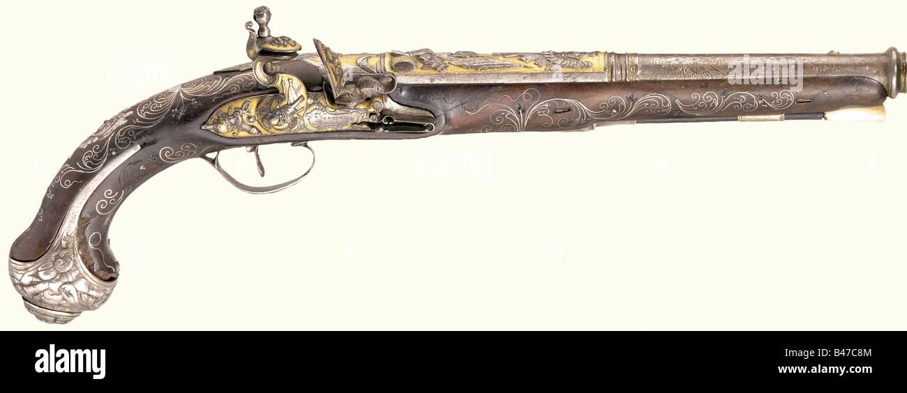 Eine herrliche Steinschloss-Pistole für den orientalischen Markt., Vergnes Ë Marseille, um 1810. Das Fass Stockbild