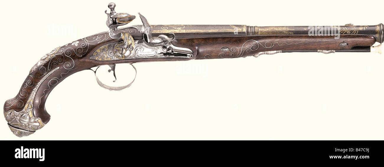 Ein paar herrliche Steinschlosspistolen, für den orientalischen Markt. Vergnes Ë Marseille, um 1810. Fässer Stockbild