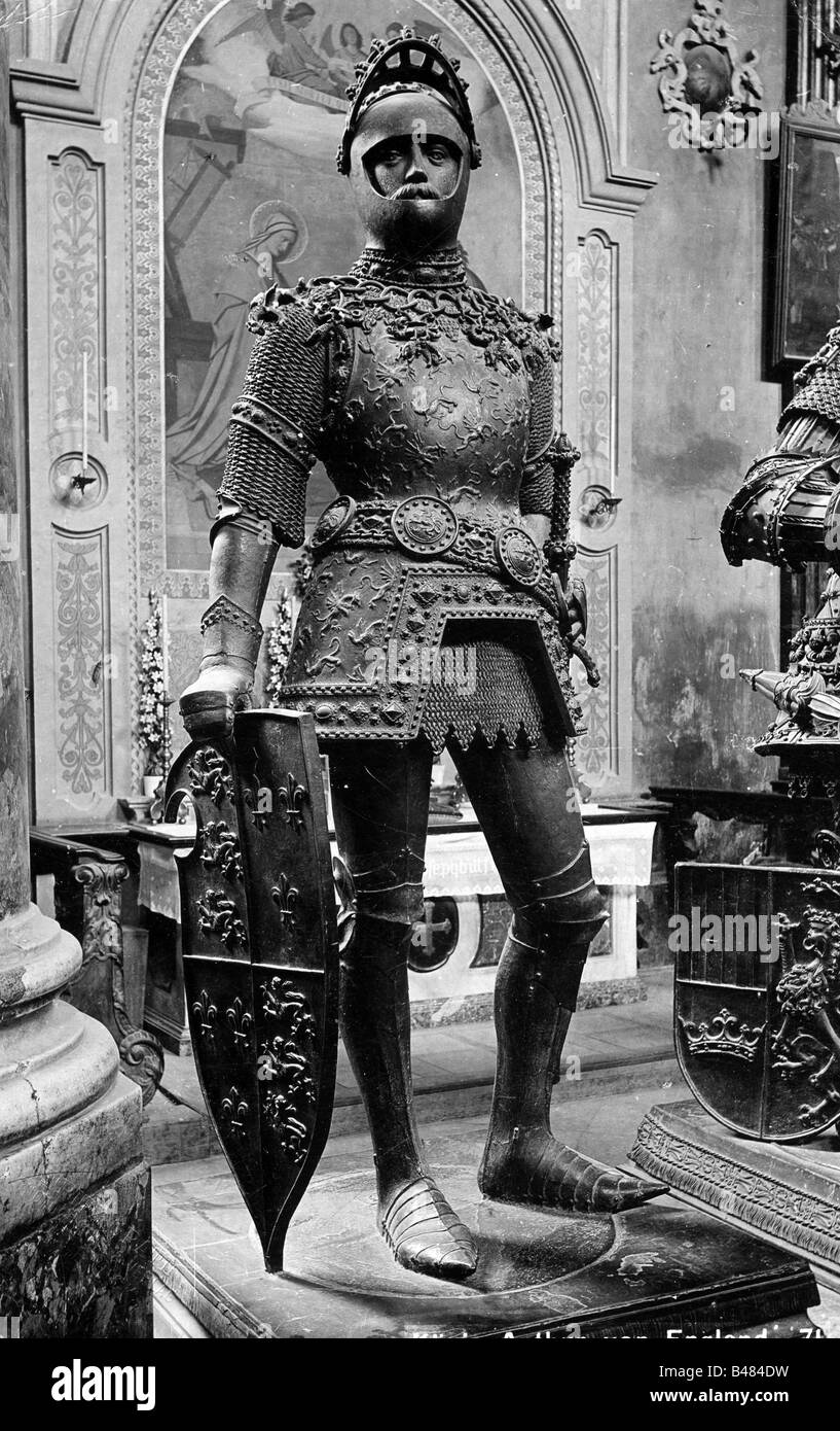 Arthur, der legendären britischen König, ca. 500 AD, volle Länge in der Rüstung, Statue von Stockbild