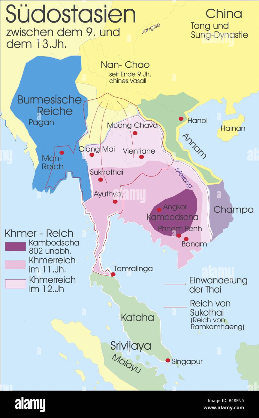 Karte Thailand Kambodscha.Carthography Historische Karten Moderne Zeiten Südostasien
