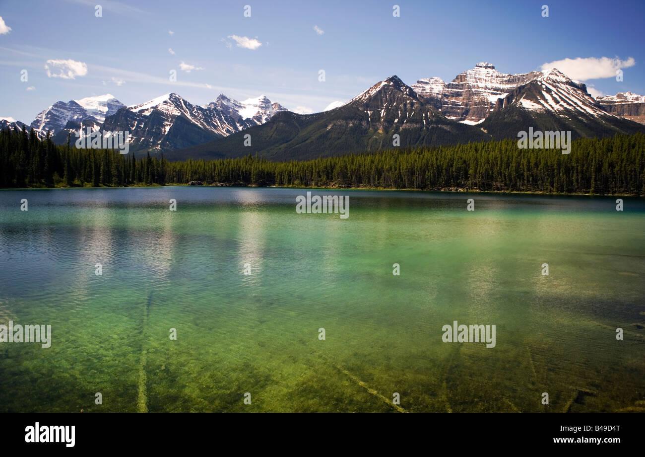 Hector Lake im Banff Nationalpark, Alberta, Kanada. Stockbild