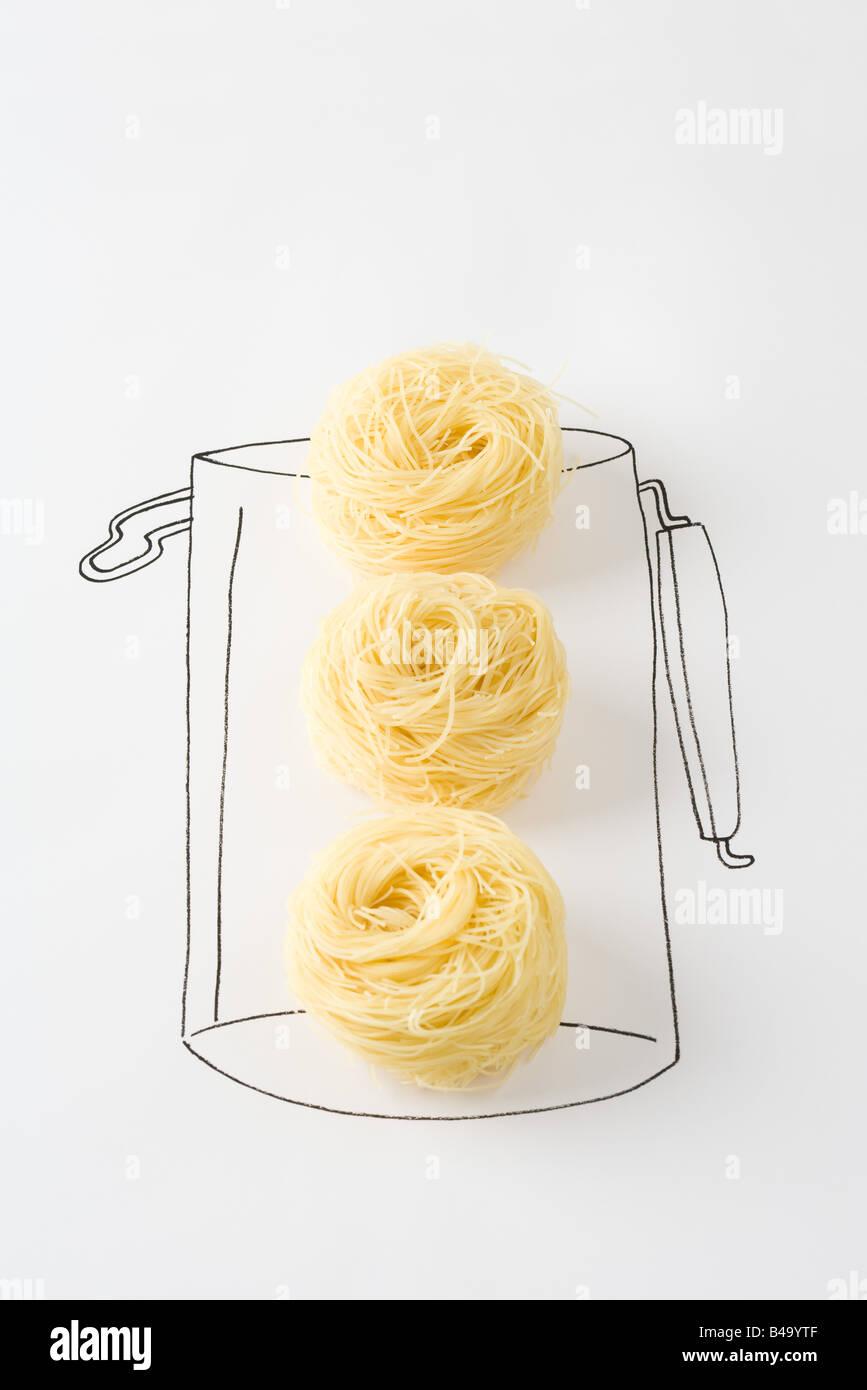 Getrocknete Nudeln in Zeichnung der Kanister Stockbild