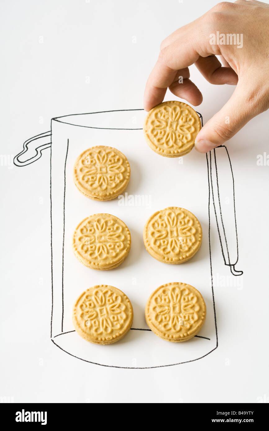 Hand-Zeichnung der Kanister Cookie entfernen Stockbild