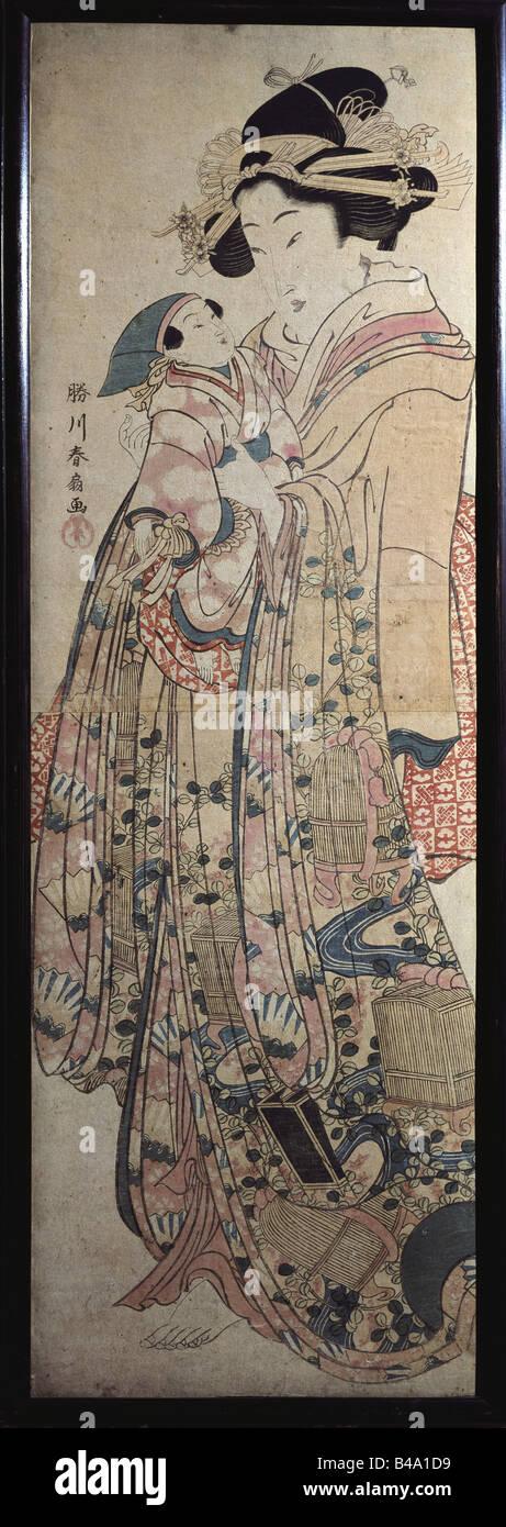 """Bildende Kunst, Japan, Grafiken, """"Dame im Kimono mit Puppe"""", farbige Holzschnitt, Anfang des 19. Jahrhunderts, Stockbild"""