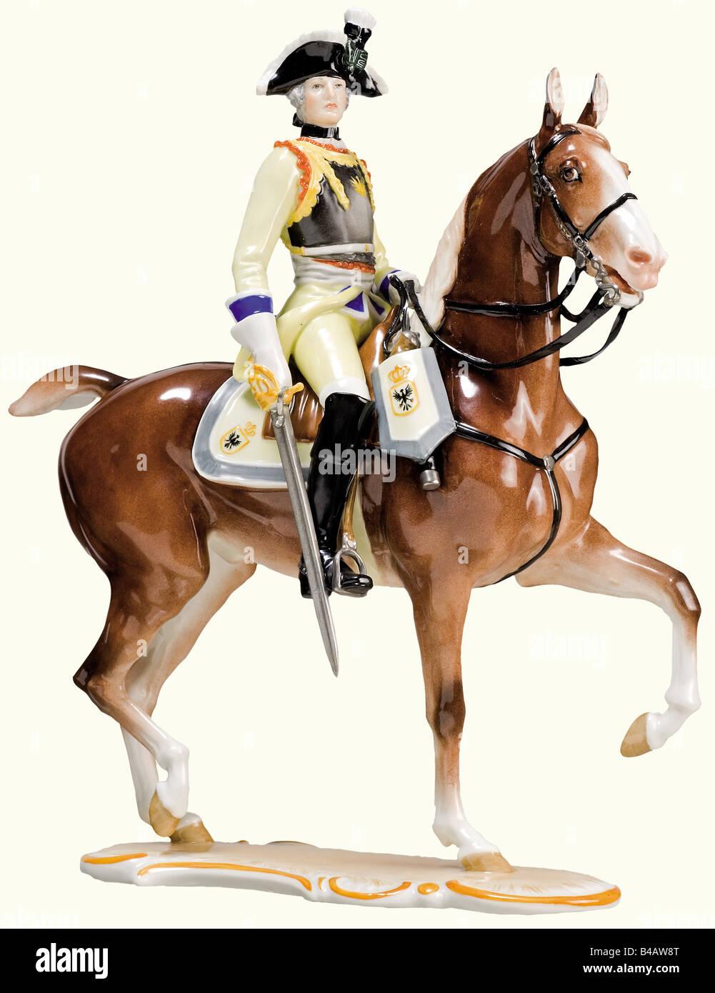Eine Seydlitz-Cuirassier Officer., ausführliche, farbigen und glasiertem Porzellan Figur eines Preußischen2 des Stockfoto
