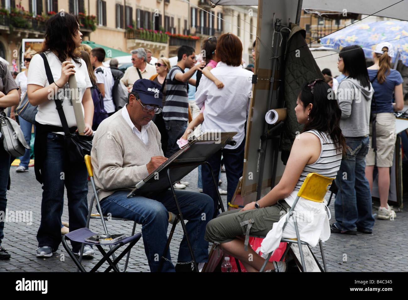 Illustrator an de Piazza Navona-Rom-Italien Stockbild