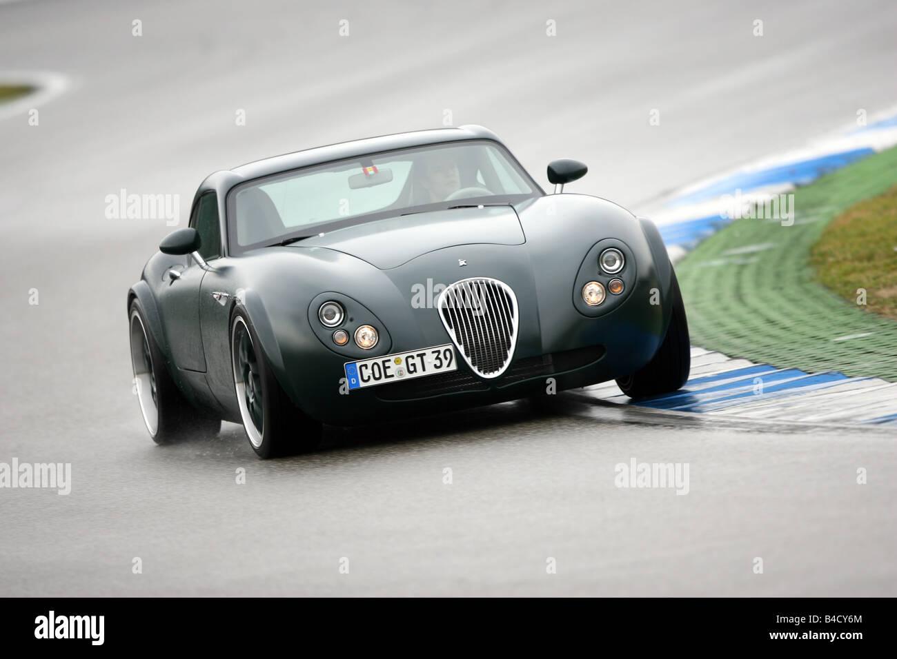 Wiesmann GT, fahren, schräg von vorne, Vorderansicht, Teststrecke Stockbild