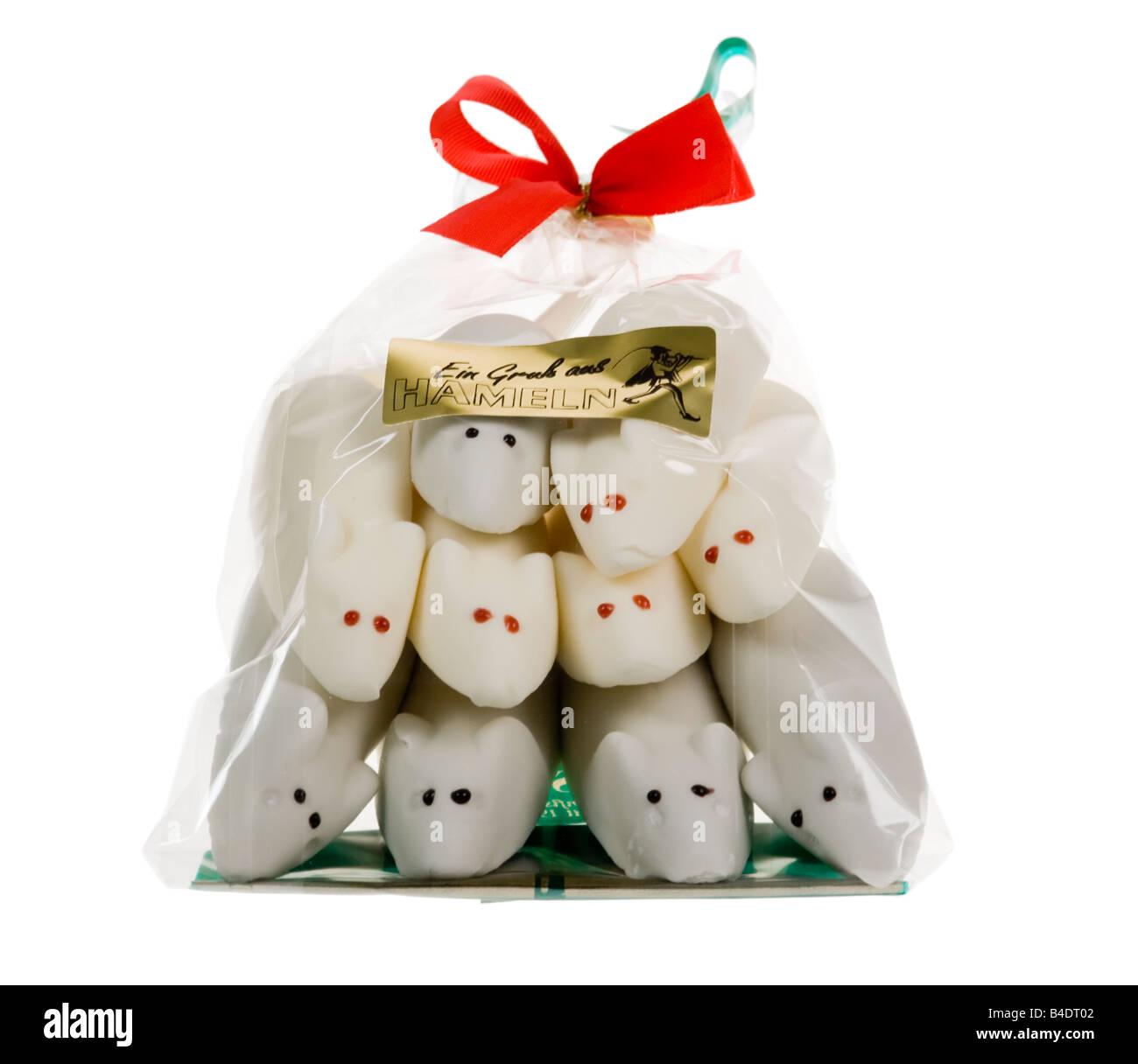 Zucker Konfekt Mäuse in Tasche mit Band, als in der Stadt Hameln Hameln Ratten Deutschlands verkauft Stockbild