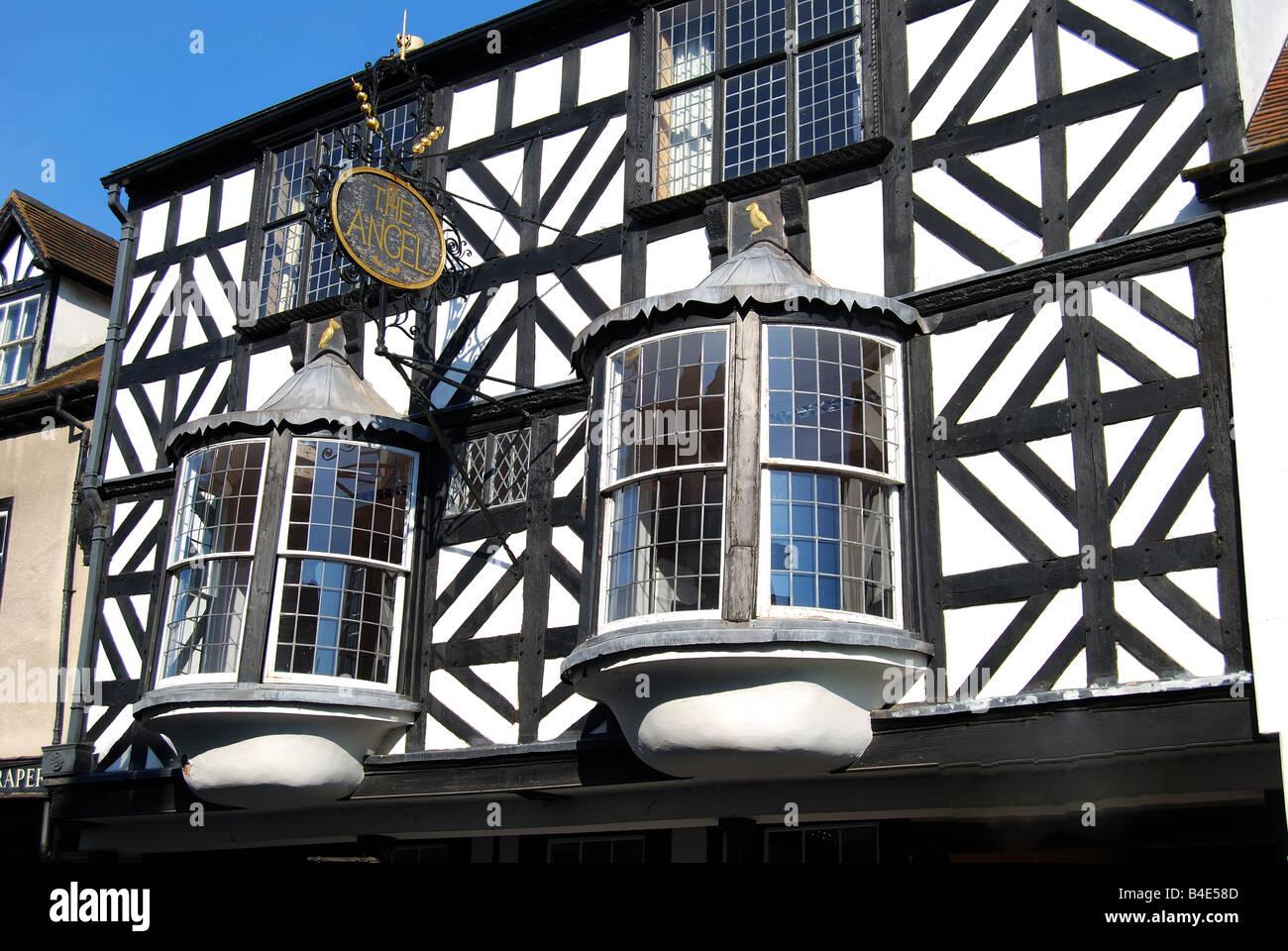 Der Engel Tudor House Fassade, Broad Street, Ludlow, Shropshire, England, Vereinigtes Königreich Stockfoto