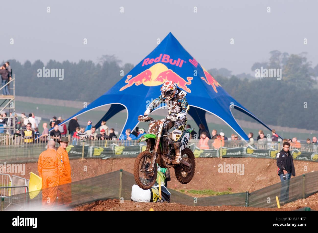 Sponsor Red Bull gesponserten Veranstaltung extreme Sport Sponsoring Aktion Aufregung spannende Motocross Motocross Stockbild