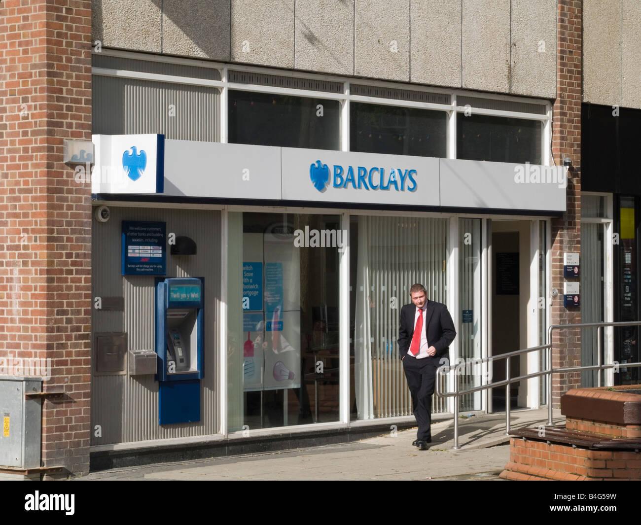 Barclays Bank High Street Ortsgruppe Stadt Bangor, Wales, UK, Großbritannien Stockbild