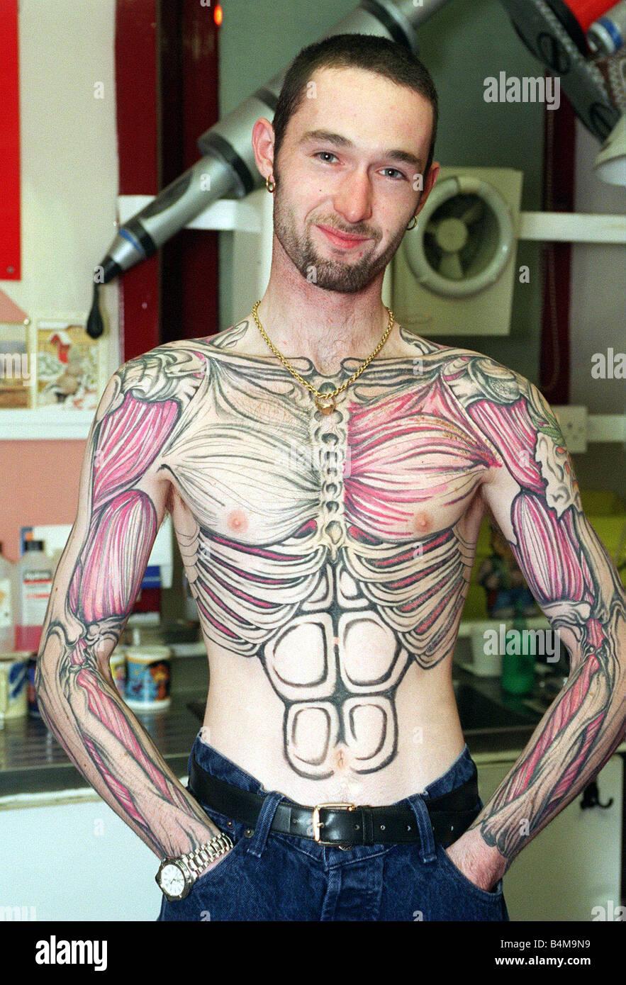 Alan Graham und sein Skelett Körper tattoo 1997 Stockfoto, Bild ...