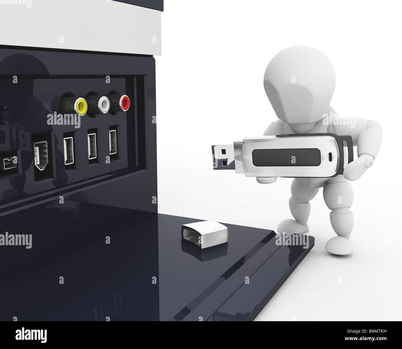 Gut gemocht 3D Rendern von jemandem in einem USB-Stick in einen Computer HL01