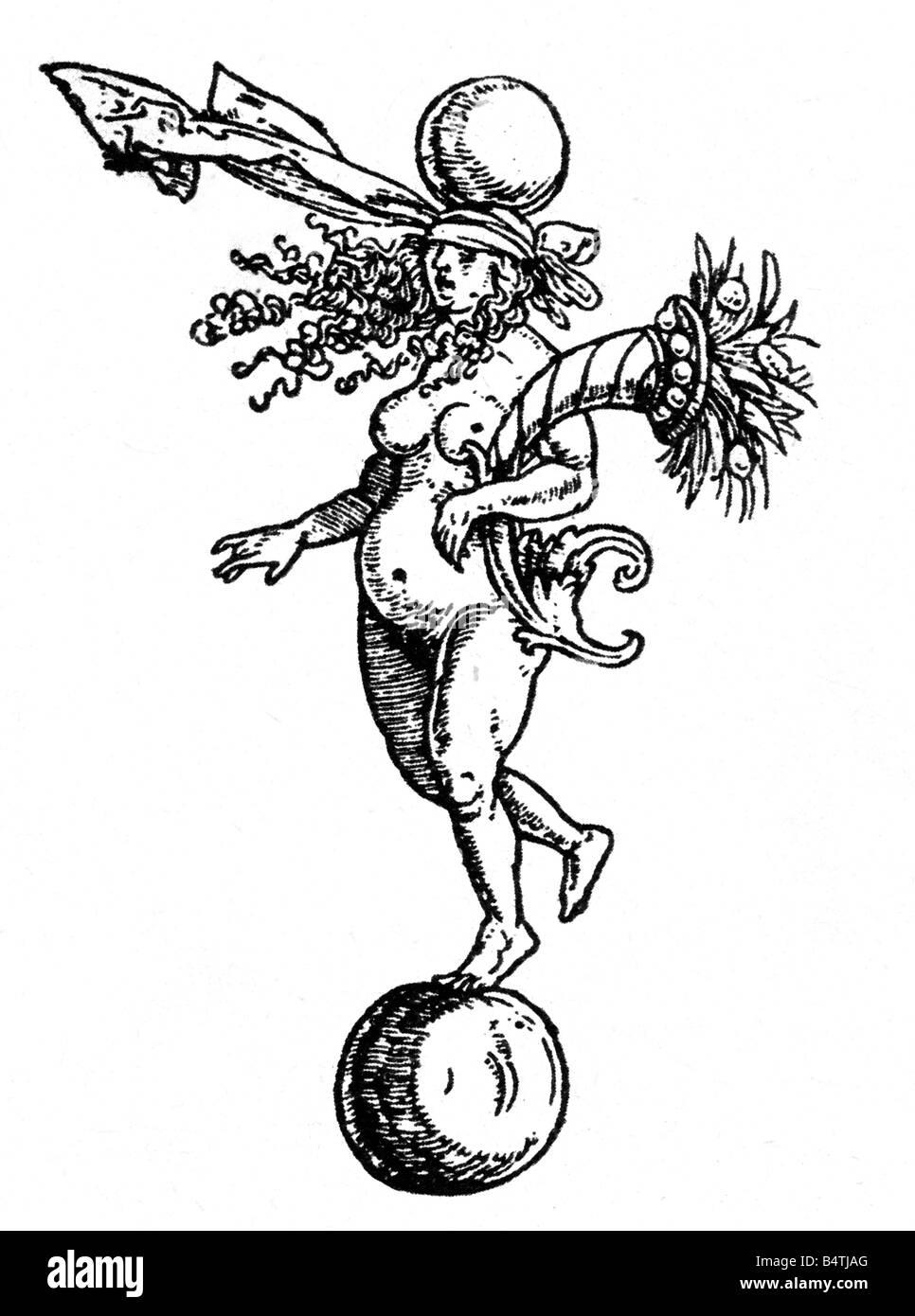 Fortuna, römische Göttin des Glücks, Holzschnitt von Albrecht Duerer (1471-1528), Fülle, Glück, Stockbild