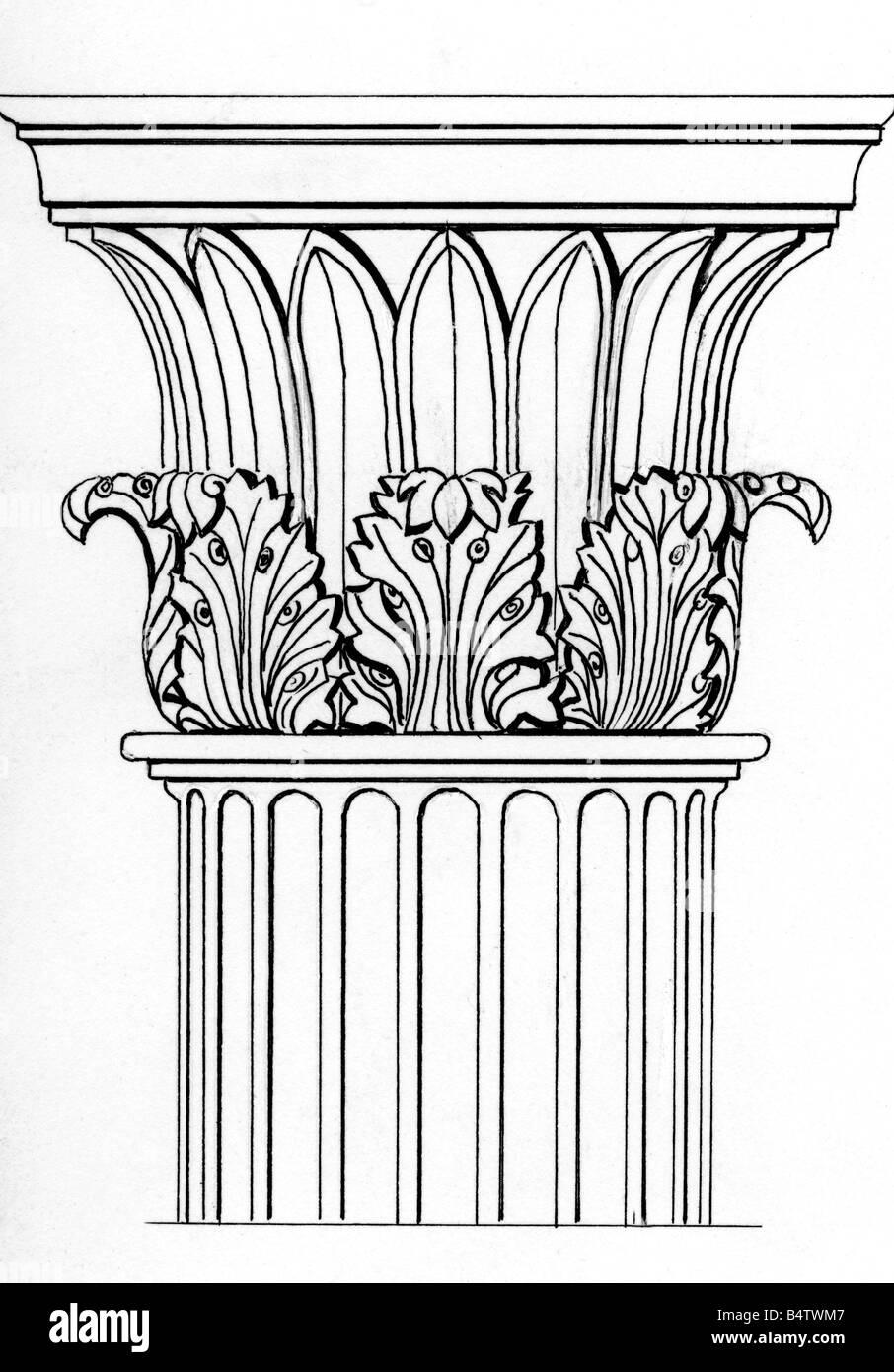 architektur detail spalten capitel korinthische ordnung tuschezeichnung 20 jahrhundert. Black Bedroom Furniture Sets. Home Design Ideas