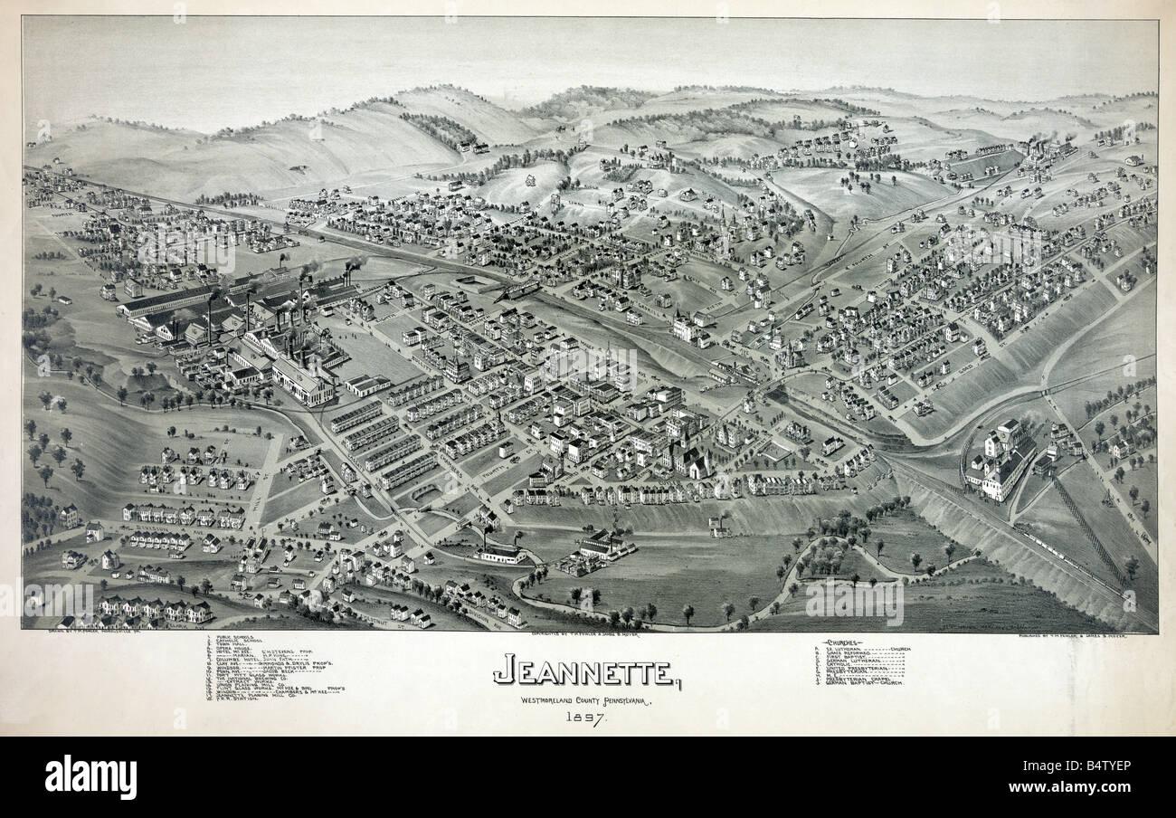 Aerial View Jeannette eine Stadt in Westmoreland County
