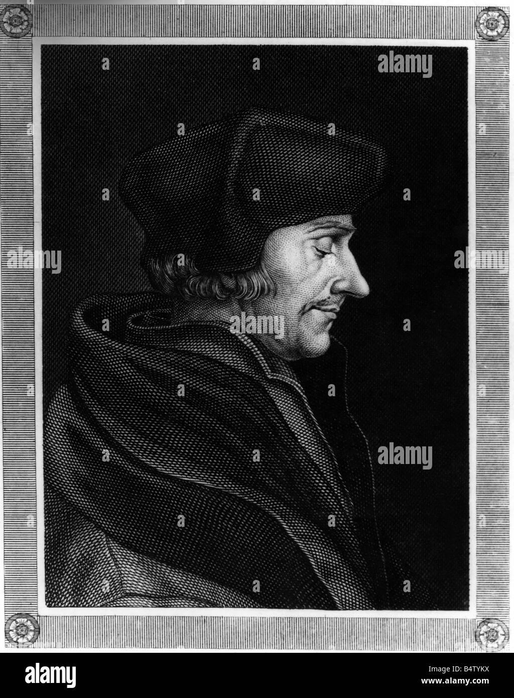 Erasmus Desiderius von Rotterdam, eigentlich Geert GEERTSEN, 27.10.1469 - 12.7.1536, deutscher Philosoph, Theologe, Stockbild